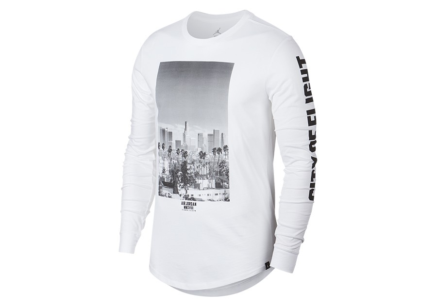 d4b885c3b63d NIKE AIR JORDAN SPORTSWEAR CITY OF FLIGHT PHOTO LONG-SLEEVE TEE WHITE