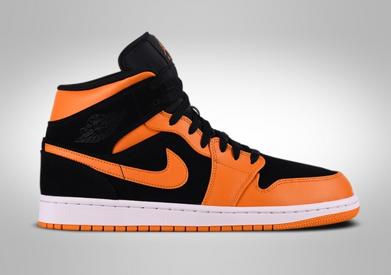 best loved 56b86 dcb92 NIKE AIR JORDAN 1 RETRO MID BLACK ORANGE PEEL
