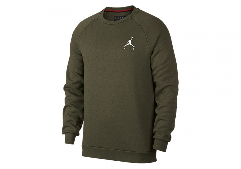 f3e9d94170aa89 NIKE AIR JORDAN JUMPMAN FLEECE CREW OLIVE CANVAS price €57.50 ...