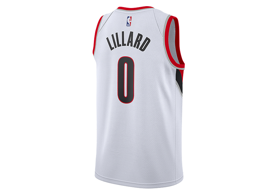 NIKE NBA PORTLAND TRAIL BLAZERS DAMIAN LILLARD SWINGMAN HOME JERSEY WHITE.  864445-100 fbee6ce56bf