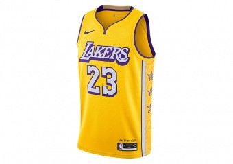 NIKE NBA LOS ANGELES LAKERS LEBRON JAMES CITY EDITION JERSEY AMARILLO