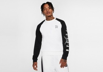 NIKE AIR JORDAN SPORT DNA FLEECE CREW TEE WHITE