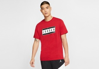 NIKE AIR JORDAN STICKER TEE GYM RED