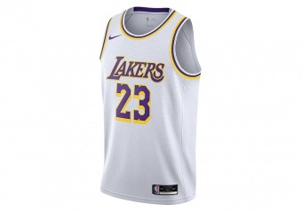 NIKE NBA LOS ANGELES LAKERS LEBRON JAMES ASSOCIATION EDITION SWINGMAN JERSEY WHITE