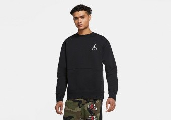 NIKE AIR JORDAN JUMPMAN AIR FLEECE CREW BLACK
