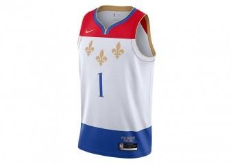 NIKE NBA NEW ORLEANS PELICANS ZION WILLIAMSON CITY EDITION SWINGMAN JERSEY WHITE