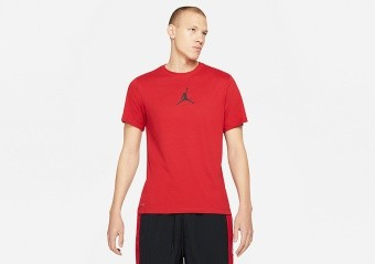 NIKE AIR JORDAN JUMPMAN DRI-FIT CREW TEE GYM RED